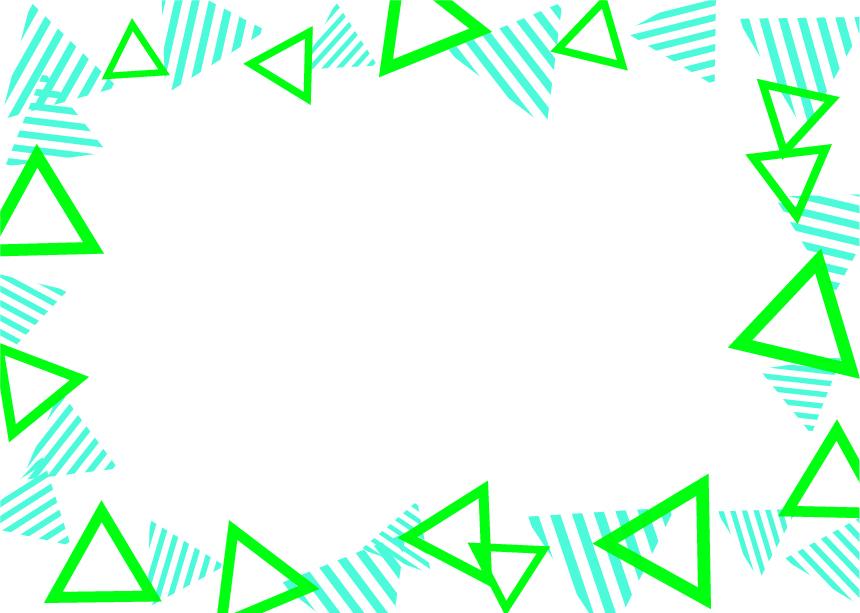 可愛いイラスト無料 背景 三角ボーダー 枠 緑色と黄緑色