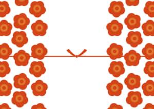 可愛いイラスト無料|のし紙 大きな梅の花 カジュアル 結びきり
