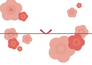 可愛いイラスト無料|のし紙 大きな桃の花 カジュアル 結びきり
