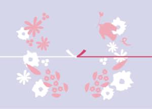可愛いイラスト無料|のし紙 鳥 花 紫色 カジュアル 結びきり