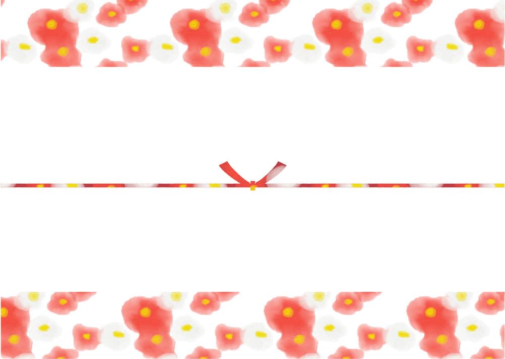 可愛いイラスト無料|のし紙 水彩 椿の花 カジュアル 結びきり