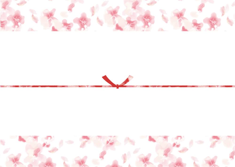 可愛いイラスト無料|のし紙 水彩 桜吹雪 カジュアル 結びきり