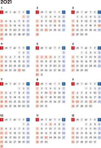 カレンダー 2021 無料|シンプルなカレンダー 四角バージョン(日曜始まり)