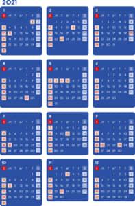 カレンダー 2021 無料|シンプルなカレンダー ダーク(日曜始まり)