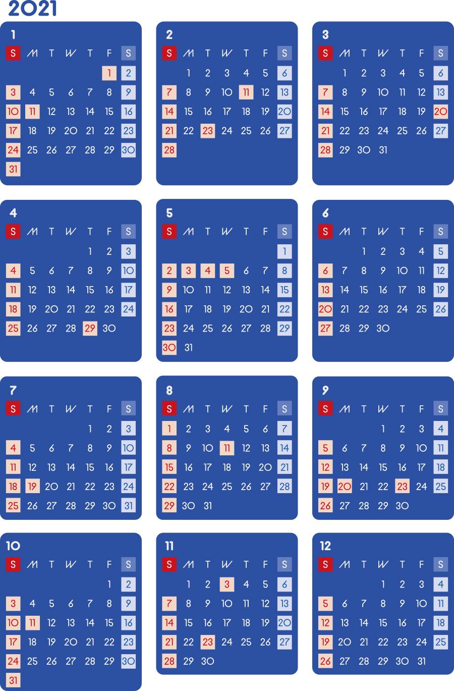カレンダー 2021 無料|シンプルなカレンダー A4 ダーク(日曜始まり)