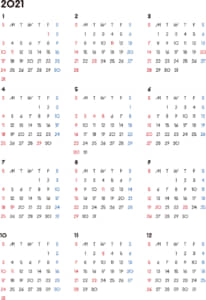 カレンダー 2021 無料|シンプルなカレンダー A4 背景なし(日曜始まり)
