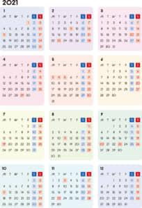 カレンダー 2021 無料|シンプルなカレンダー A4 カラフル(月曜始まり)