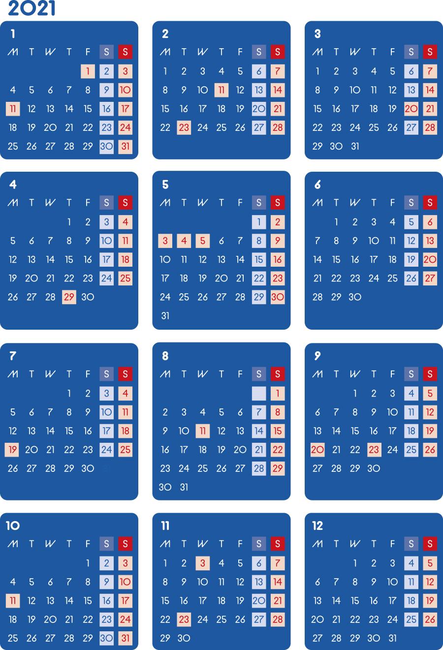 カレンダー 2021 無料|シンプルなカレンダー A4 ダーク(月曜始まり)