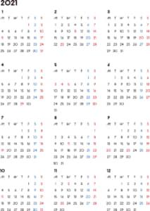 カレンダー 2021 無料|シンプルなカレンダー A4 背景なし(月曜始まり)