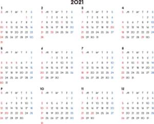 カレンダー 2021 無料|シンプルなカレンダー 横型(日曜始まり)