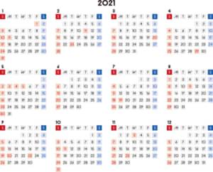 カレンダー 2021 無料|シンプルなカレンダー A4 四角バージョン 横型(日曜始まり)