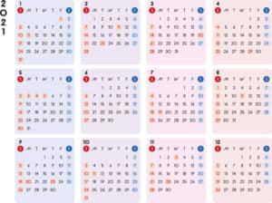 カレンダー 2021 無料|シンプルなカレンダー A4 カラフル 横型(日曜始まり)