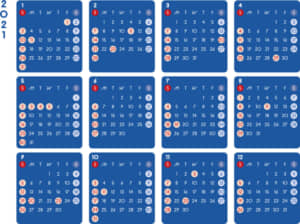 カレンダー 2021 無料|シンプルなカレンダー A4 ダーク 横型(日曜始まり)