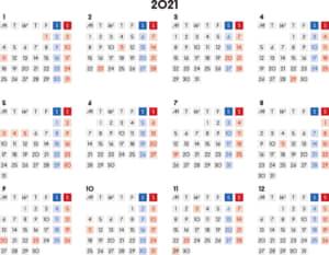 カレンダー 2021 無料|シンプルなカレンダー A4 四角バージョン 横型(月曜始まり)