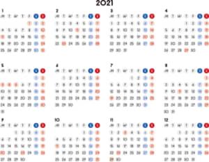 カレンダー 2021 無料|シンプルなカレンダー A4 丸バージョン 横型(月曜始まり)