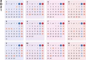 カレンダー 2021 無料|シンプルなカレンダー カラフル 横型(月曜始まり)