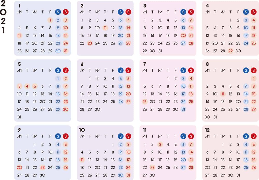 カレンダー 2021 無料 シンプルなカレンダー カラフル 横型(月曜始まり)