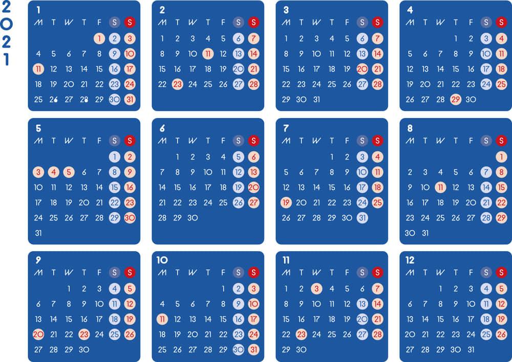 カレンダー 2021 無料|シンプルなカレンダー A4 ダーク 横型(月曜始まり)