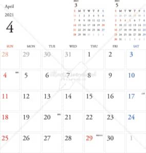 イラストデータ販売|カレンダー 2021 最新の祝日|4月 シンプルなカレンダー A4 1ヶ月毎(日曜始まり)