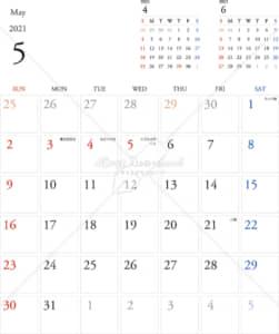 イラストデータ販売|カレンダー 2021 最新の祝日|5月 シンプルなカレンダー A4 1ヶ月毎(日曜始まり)