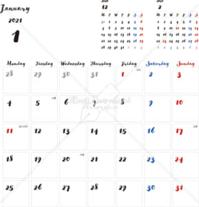 イラストデータ販売|カレンダー 2021 最新の祝日|1月 シンプルなカレンダー 手書き風 A4 1ヶ月毎(月曜始まり)