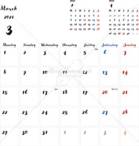 イラストデータ販売|カレンダー 2021 最新の祝日|3月 シンプルなカレンダー 手書き風 A4 1ヶ月毎(月曜始まり)