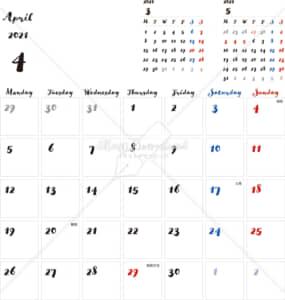 イラストデータ販売|カレンダー 2021 最新の祝日|4月 シンプルなカレンダー 手書き風 A4 1ヶ月毎(月曜始まり)