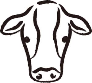 年賀状2021デザイン無料|筆で書いた牛のイラスト