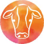 年賀状2021デザイン無料|水彩 にじみ 牛