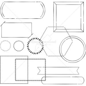 イラストデータ販売|シンプル フレーム あしらい ペン画 手書き イラストデータ