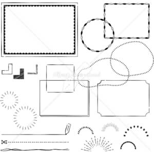 イラストデータ販売|フレーム あしらい ペン画 手書き イラストデータ