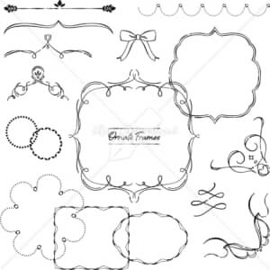 イラストデータ販売|装飾フレーム あしらい ペン画 手書き イラストデータ