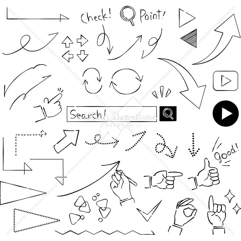 イラストデータ販売|矢印 あしらい ペン画 手書き イラストデータ