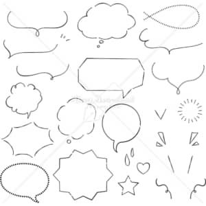 イラストデータ販売|吹き出し 細い線 あしらい ペン画 手書き イラストデータ