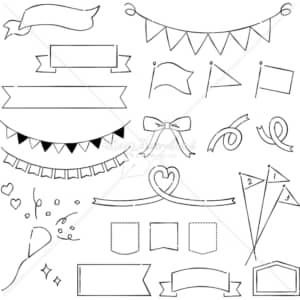イラストデータ販売|フラッグとリボン あしらい ペン画 手書き イラストデータ