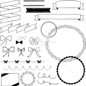 イラストデータ販売|りぼん あしらい ペン画 手書き イラストデータ