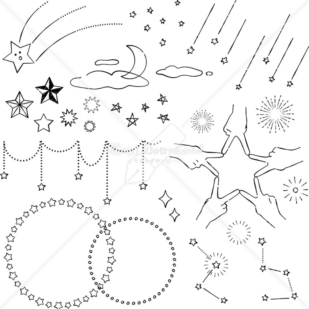 イラストデータ販売|星 あしらい ペン画 手書き イラストデータ