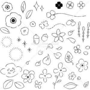 イラストデータ販売|小さな草花 あしらい ペン画 手書き イラストデータ