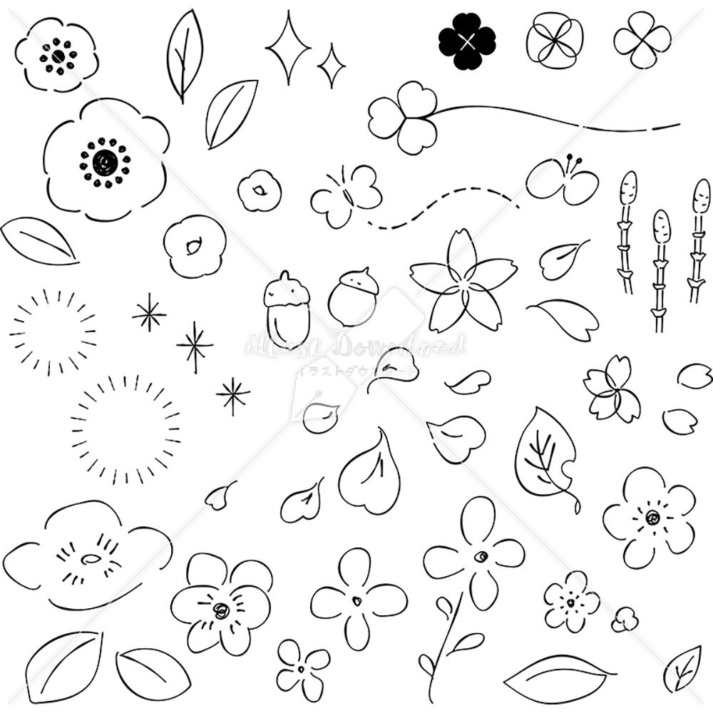 イラストデータ販売 小さな草花 あしらい ペン画 手書き イラストデータ
