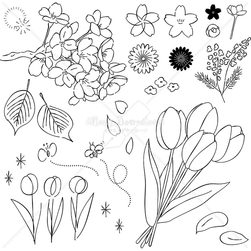 イラストデータ販売|春 花 桜 チューリップ あしらい ペン画 手書き イラストデータ