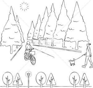 イラストデータ販売|並木 散歩 あしらい ペン画 手書き イラストデータ