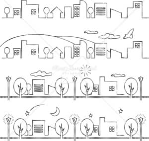 イラストデータ販売|町並み シンプル あしらい ペン画 手書き イラストデータ