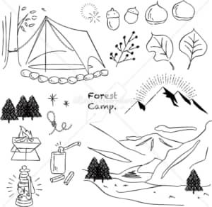 イラストデータ販売|キャンプ 山 川 あしらい ペン画 手書き イラストデータ