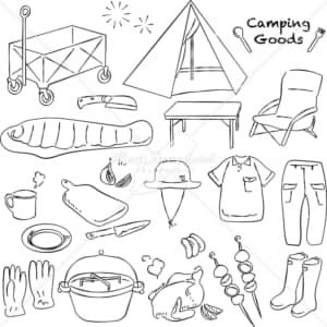 イラストデータ販売|キャンプ グッズ あしらい ペン画 手書き イラストデータ