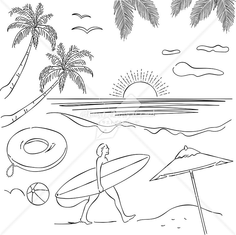 イラストデータ販売|リゾート ヤシの木 サーファー あしらい ペン画 手書き イラストデータ