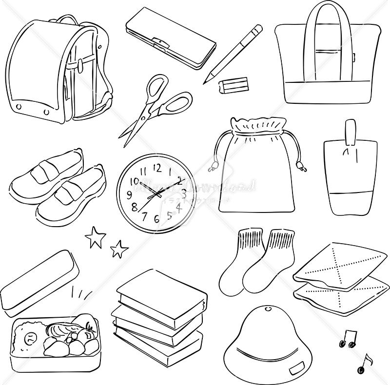 イラストデータ販売|小学校 入学 グッズ あしらい ペン画 手書き イラストデータ
