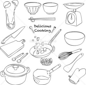 イラストデータ販売|料理シーン あしらい ペン画 手書き イラストデータ