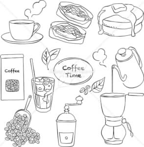 イラストデータ販売|コーヒー シーン あしらい ペン画 手書き イラストデータ