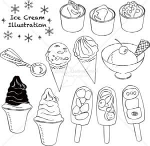 イラストデータ販売|アイスクリーム あしらい ペン画 手書き イラストデータ