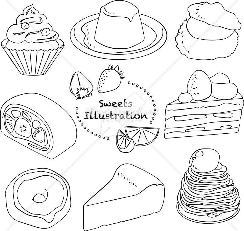 イラストデータ販売|スイーツ ケーキ あしらい ペン画 手書き イラストデータ